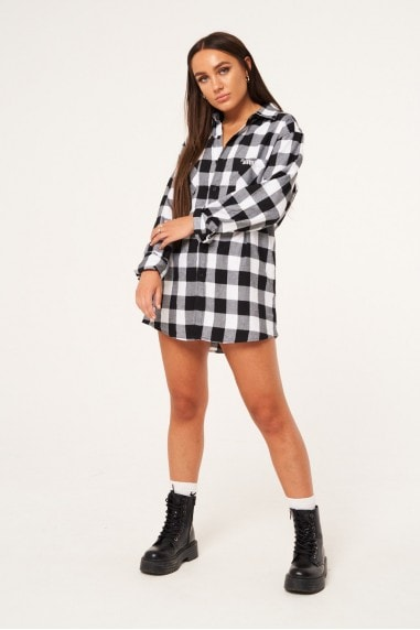 Oversized Checked Shirt with Pocket Patch - Black/White