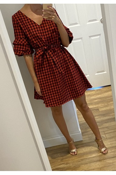 Red Check Pattern Tie Waist Tea Dress