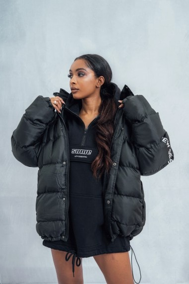 Black Essential Oversized Puffer Jacket