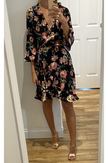 Black Floral Print Flare sleeve Wrap Mini Dress