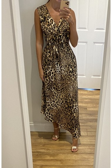 Animal Print Wrap Front Satin Midi Dress