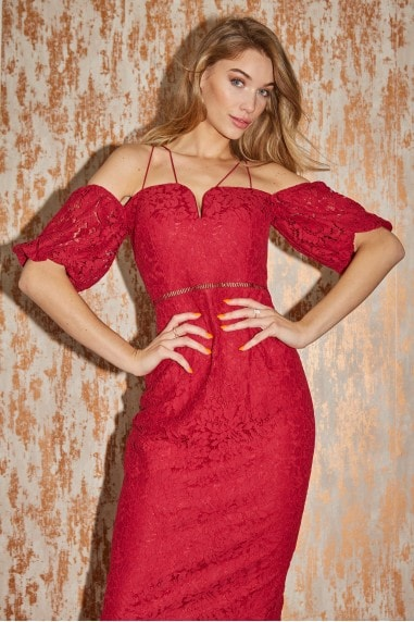 Draper Chilli Lace Sweetheart Midi Bodycon Dress