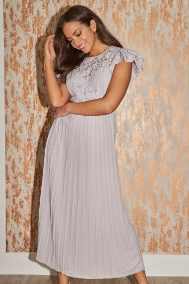 Tyler Grey Lace Pleated Midaxi Dress