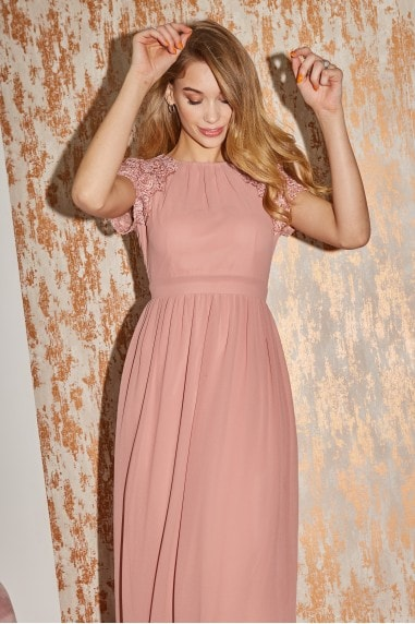Bridesmaid Lani Apricot Sequin Embroidered Maxi Dress