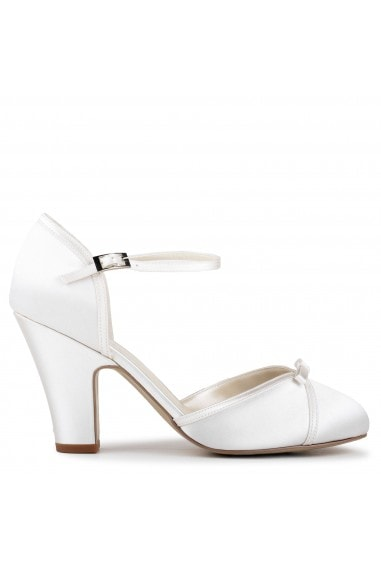 Satin 'Castello' High Heel Block Heel Court Shoes
