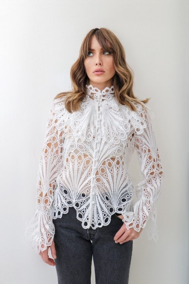 White Crochet Frill Shirt