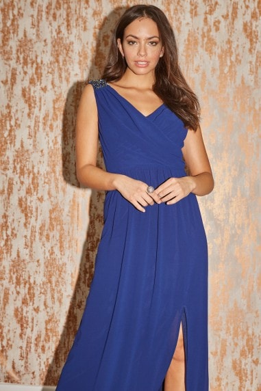 Bridesmaid Alessandra Navy Jewel Strap Maxi Dress