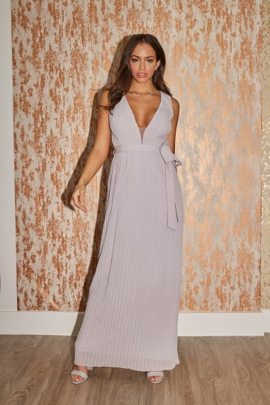 Bridesmaid Kellie Grey Plunge Pleated Maxi Dress