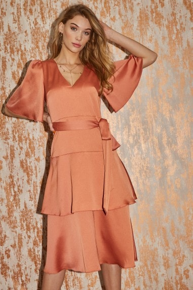 Winnie Rust Satin Tiered Midi Dress