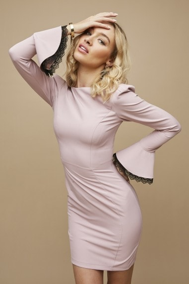 Lanyon Pink Lace-Trim Mini Bodycon Dress