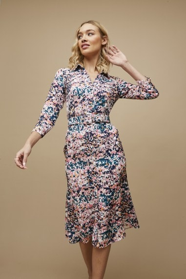 Balmoral Marble-Print Belted Midi Shirt Dress