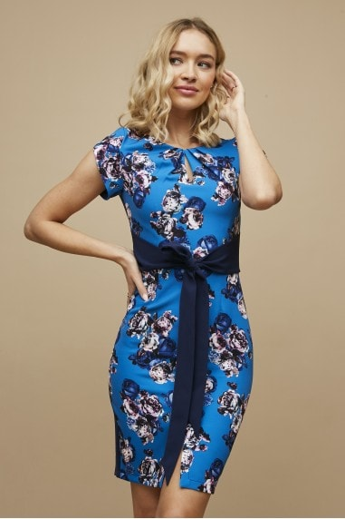 Virginia Blue Floral-Print Tie-Waist Pencil Dress