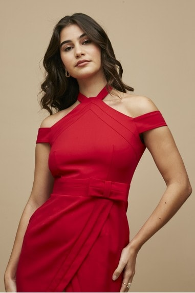 Easton Red Halterneck Bow Detail Dress