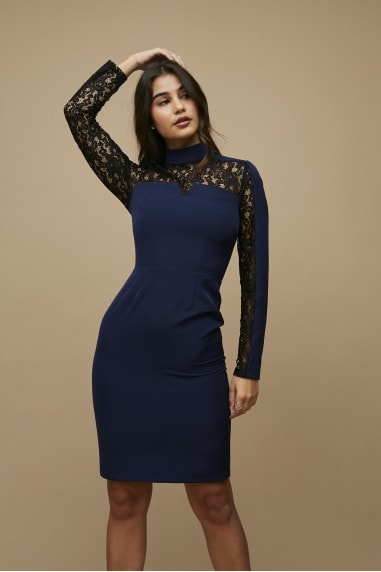 Lesay Navy Lace Insert Bodycon Dress