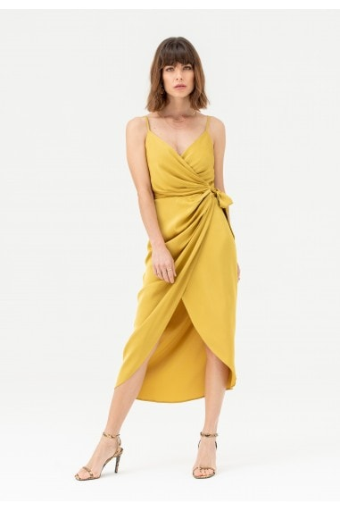 Tie Side Cami Wrap Dress in Mustard