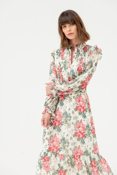 Long Sleeve High Neck Shirt Dress in Beige Floral