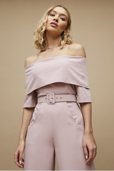 Acacia Pink Bardot Belted Wide-Leg Jumpsuit