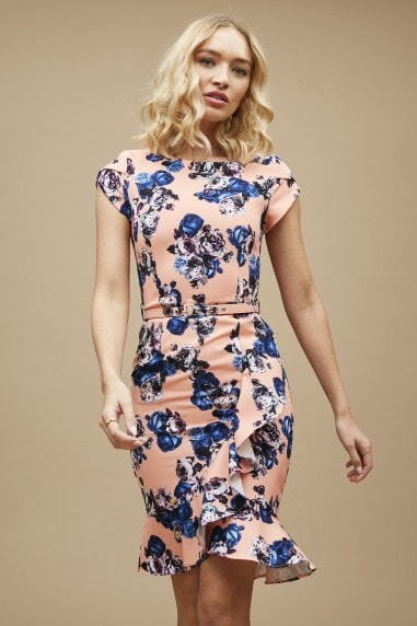 Banksia Orange Floral-Print Belted Bodycon Dress