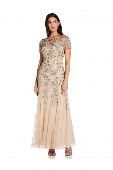 Beaded Gown With Godets In Taupe/Pink