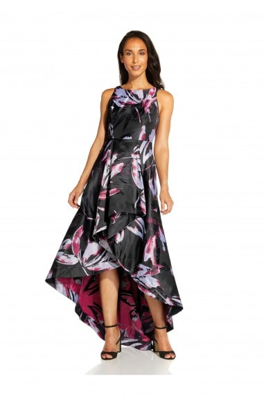 Floral Jacquard Gown In Magenta Multi