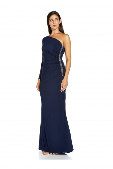 One Shoulder Jersey Dress In Midnight