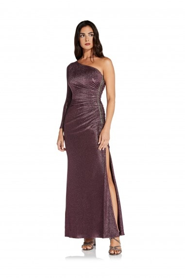 Metallic Jersey Dress In Amethyst