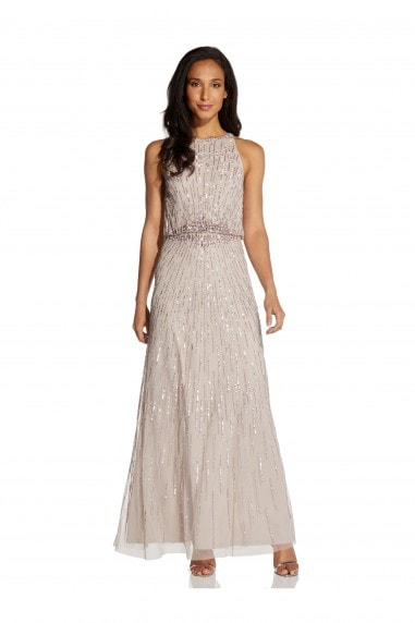 Beaded Blouson Gown In Marble