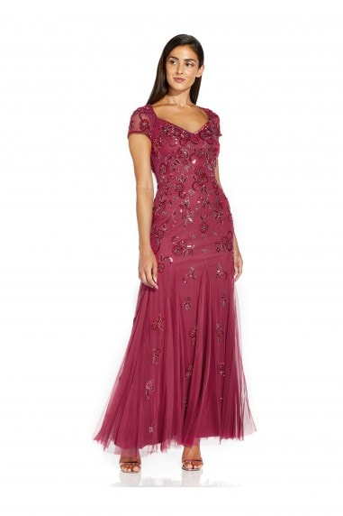 Beaded Covered Gown In Dusty Rouge