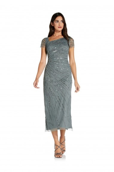 Beaded Gown With Short Sleeves In Green Granite