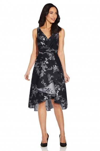 Pleated Jacquard High Low Dress In Black/Silver