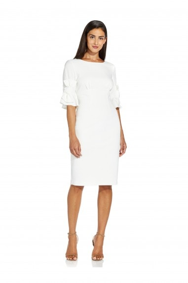 Knit Crepe Bow Detail Sheath Dress In Ivory