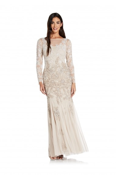 Multi Beaded Gown In Biscotti