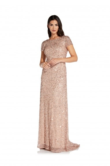 Scoop Back Long Dress In Rose Gold