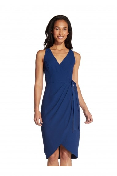 Divine Crepe Wrap Dress In Navy