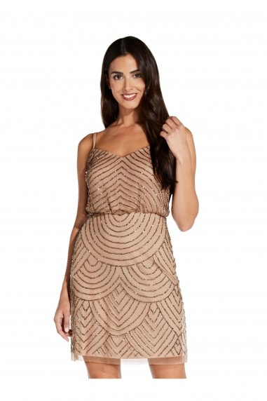 Blouson Bead Dress In Taupe/Pink