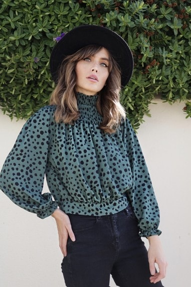 Green Dalmatian High Neck Bell Sleeve Blouse