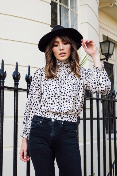 Dalmatian High Neck Bell Sleeve Blouse