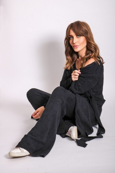 Black Three Piece Long Cardigan Lounge Co-Ord