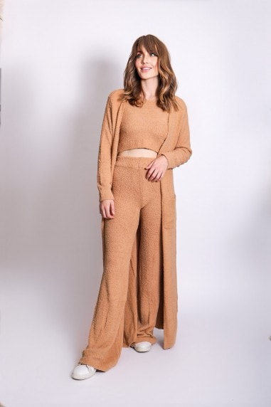 Brown Three Piece Long Cardigan Lounge Co-Ord