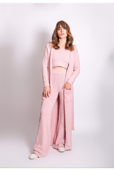 Pink Three Piece Long Cardigan Lounge Co-Ord