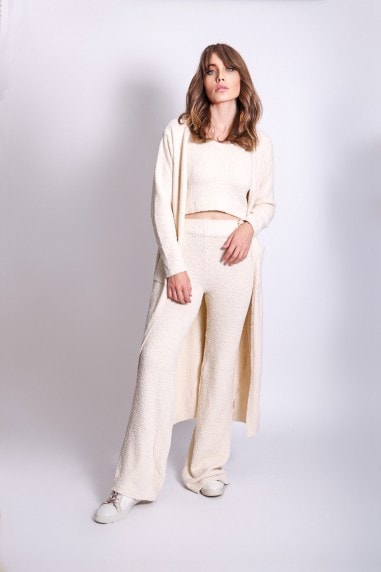 Cream Three Piece Long Cardigan Lounge Co-Ord
