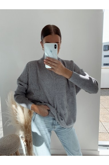 Grey High Neck Jumper