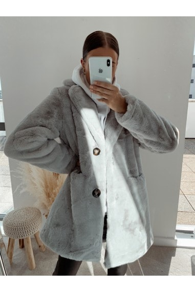 Grey Oversized Teddy Coat