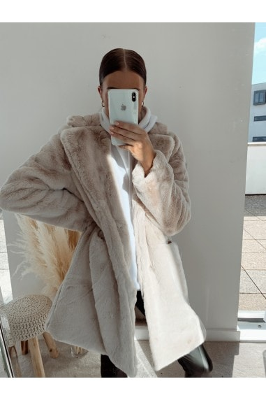 Beige Oversized Teddy Coat