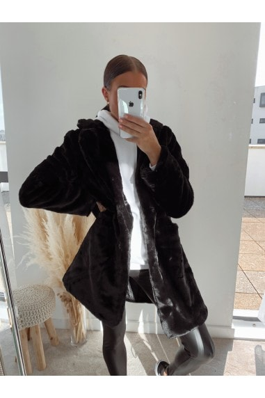 Black Oversized Teddy Coat