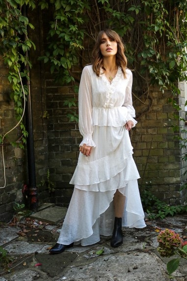 White Maxi Frill Smock Dress