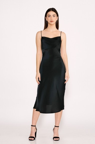 Black Midi Satin Strappy Dress