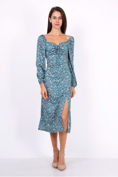 Leaf Print Ruched Neckline Midi Dress In Blue