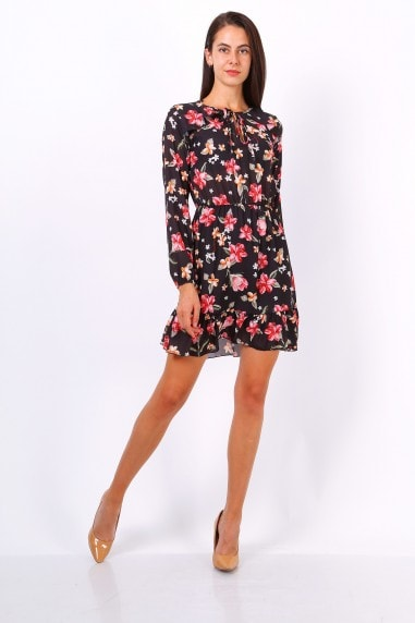 Black Floral Print Tie Neck Shift Dress