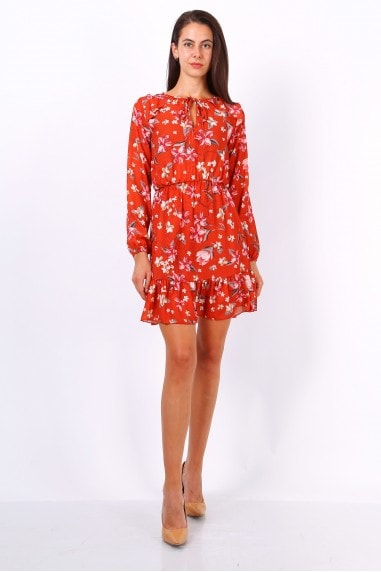 Orange Floral Print Tie Neck Shift Dress